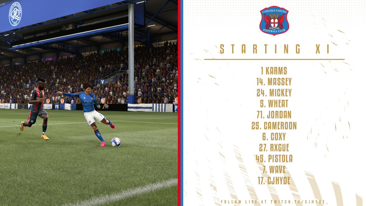 RT @VFL_Carlisle: Our Starting XI to face Crystal Palace in the FA Cup Quarter Final. https://t.co/GOds49YBbn