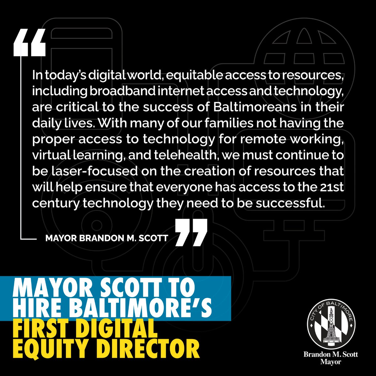 #BaltimoreCity is getting it's first #Director of Broadband and Digital #Equity! Check out @MayorBMScott's announcement! https://t.co/0pcxFa57ir