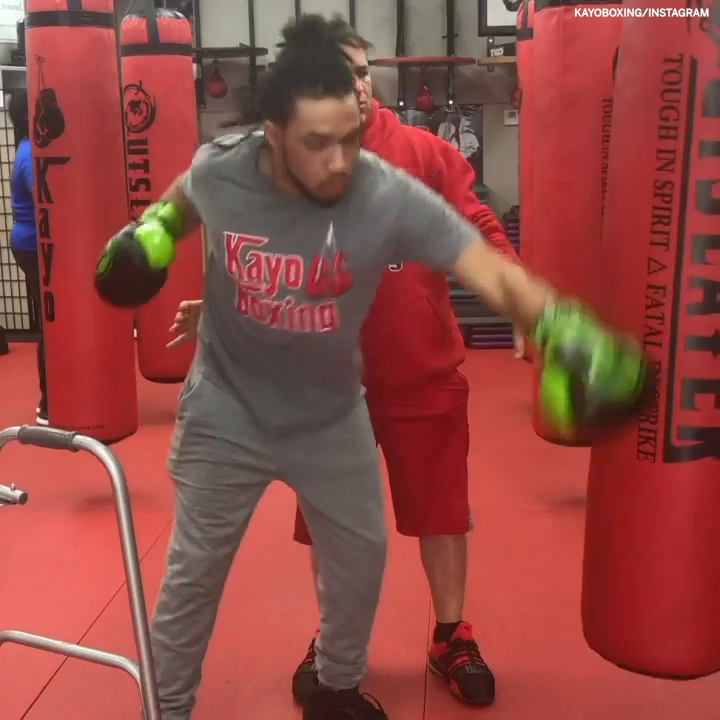 After being shot in the head with a stray bullet, Lorenzo has taken up boxing to help with his recovery and rehabilitation process 👏   (via kayoboxing/Instagram, @ESPNRingside)