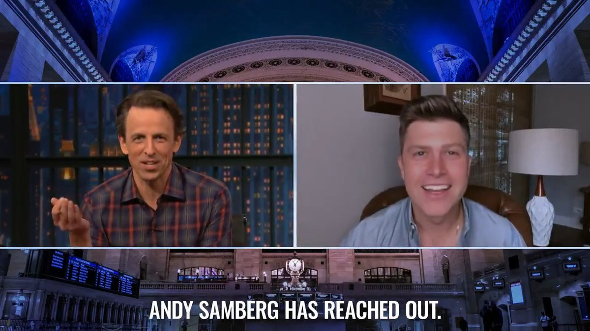 This interview went completely off the rails once #AndySamberg blew up @ColinJost's phone.