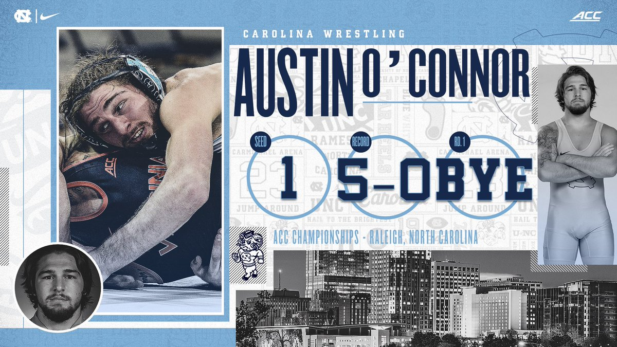 Austin O'Connor (149) is chasing his second-straight ACC title at 149 pounds. Headed into the postseason, he's looking to become Carolina's first national champion since T.J. Jaworsky (1995).   #GoHeels | #WeWantMore
