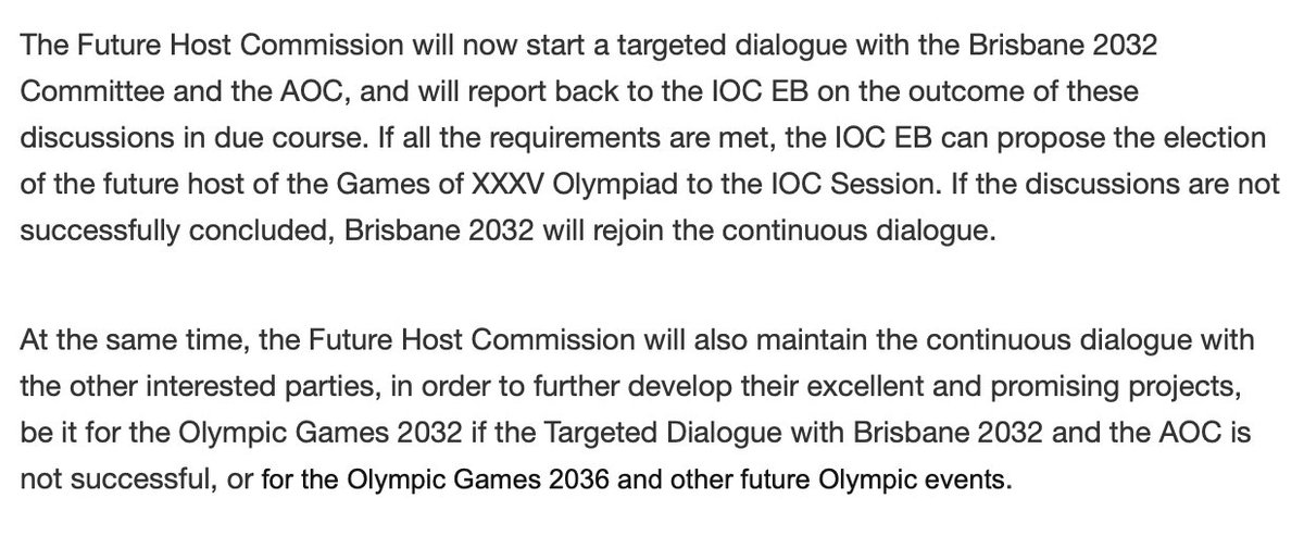 IOCs full feasibility study for Brisbane 👇 worth saying its not a lock and other cities could yet step up but Queensland is in pole position. Its theirs to lose. stillmedab.olympic.org/media/Document…