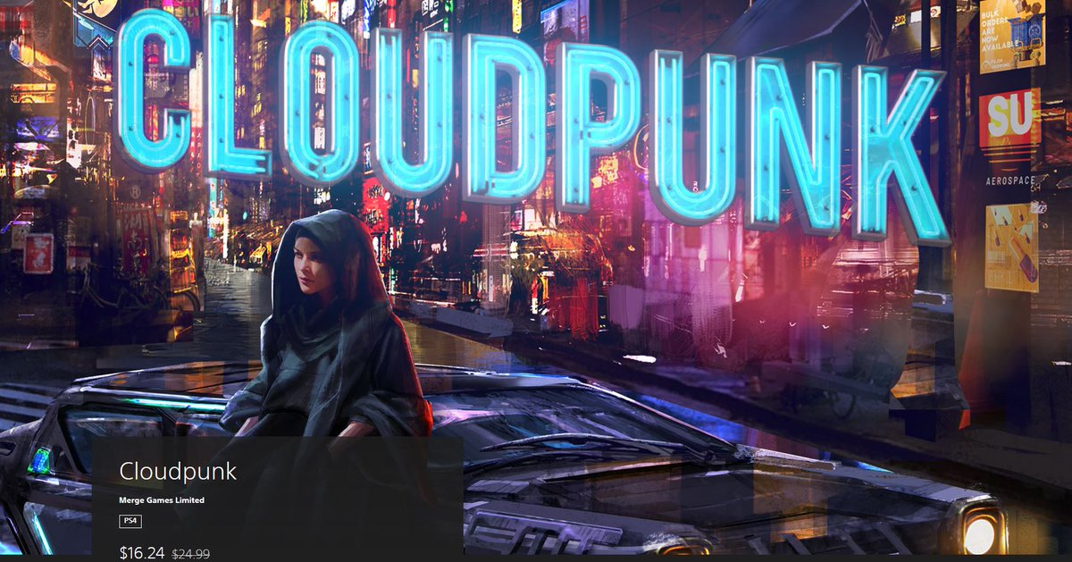 Cloudpunk (PS4) $16.24 via PSN. 2