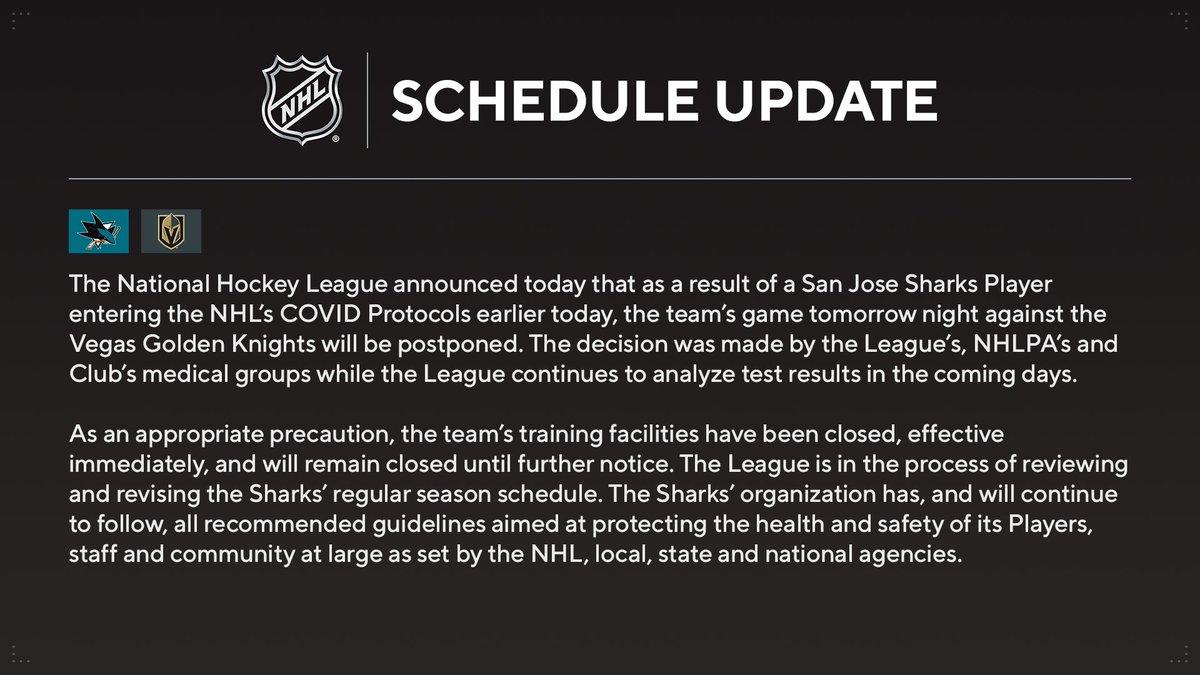 Thursday's @SanJoseSharks vs. @GoldenKnights game postponed.