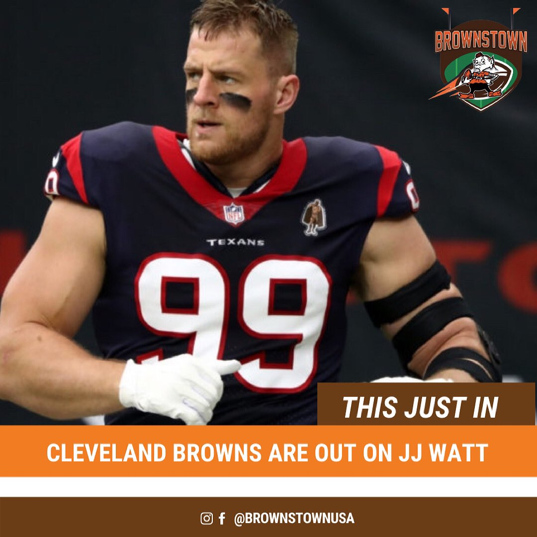 According to #NFL writer John Clayton, the #Browns are out of the J.J. Watt chase. The final three teams are the #Packers , #Titans and #Bills . #WattWatch is seemingly over for Cleveland   #BrownsTownUSA #ThisIsCle #OrangeAndBrown #DawgCheck