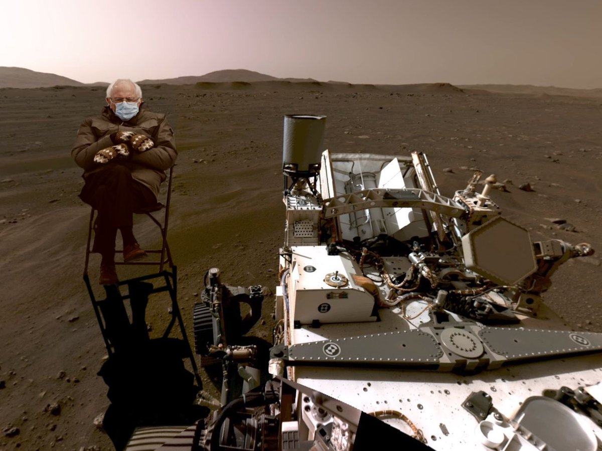 BREAKING: The Mars rover picked up this new image yesterday. #mars2021 #MarsRover #Berniememe @BernieSanders