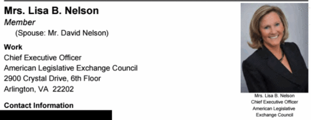 9/ Lisa B. Nelson, the CEO of the American Legislative Exchange Counsel (ALEC), which drafts all of the state voter suppression bills (and strategized to question the integrity of Trump's loss long BEFORE the election) is in the CNP's Sept. 2020 directory.