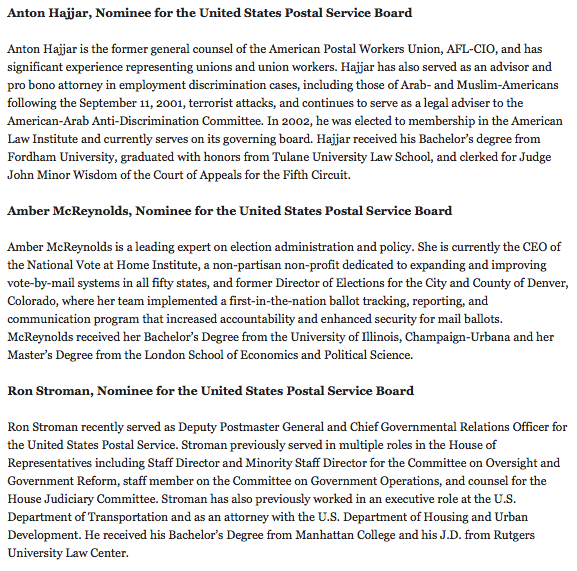 Biden makes it official, announces 3 new nominees for USPS board of governors that if confirmed would give him a majority that could oust Louis DeJoy
