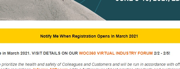 In case you missed it ... World of Concrete updated its website stating that registration will open in March.  (Yes, we check there almost every day.) #concrete #concretecontractor @WorldofConcrete https://t.co/U7XUU1aNKj
