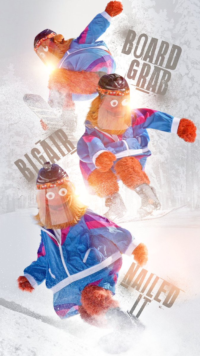 Replying to @NHLFlyers: shredding the fresh powder. 🏂  #WallpaperWednesday   @GrittyNHL