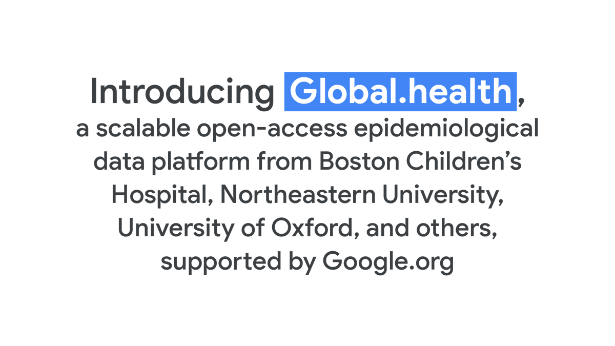 With support from a $1.25M grant, #GoogleorgFellowship, & @RockefellerFdn researchers from @bostonchildrens, @northeastern, @UniofOxford, & others created @globaldothealth, a data platform that will track the spread of diseases like #COVID19. Learn more: