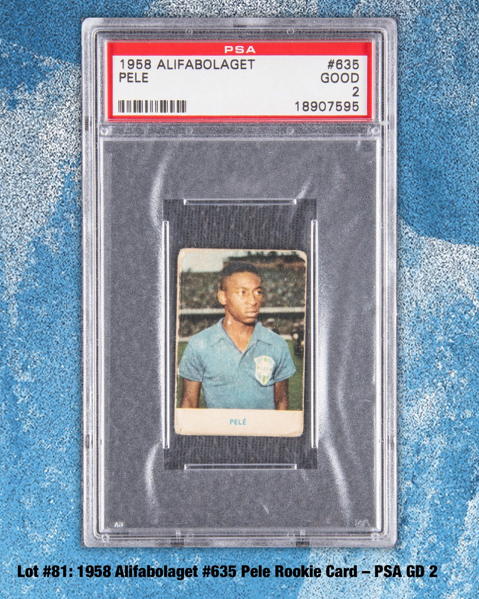 Winter Auction⛄️ Graded GD 2 by #PSA National Soccer Hall of Famer & International Football Hall of Famer, in a coveted #RookieCard appearance. #Pelé is universally acclaimed as the most distinguished rep of the popular international sport. LOT # 81