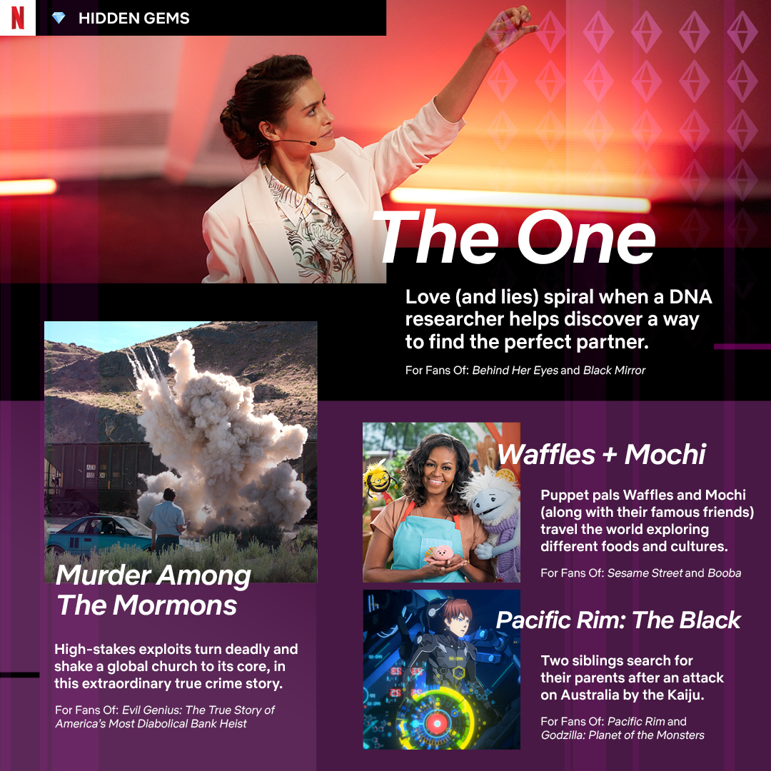 Twisty psychological romp #TheOne, true crime story #MurderAmongTheMormons, @MichelleObama's kids adventure #WafflesAndMochi, and anime favourite #PacificRimTheBlack...