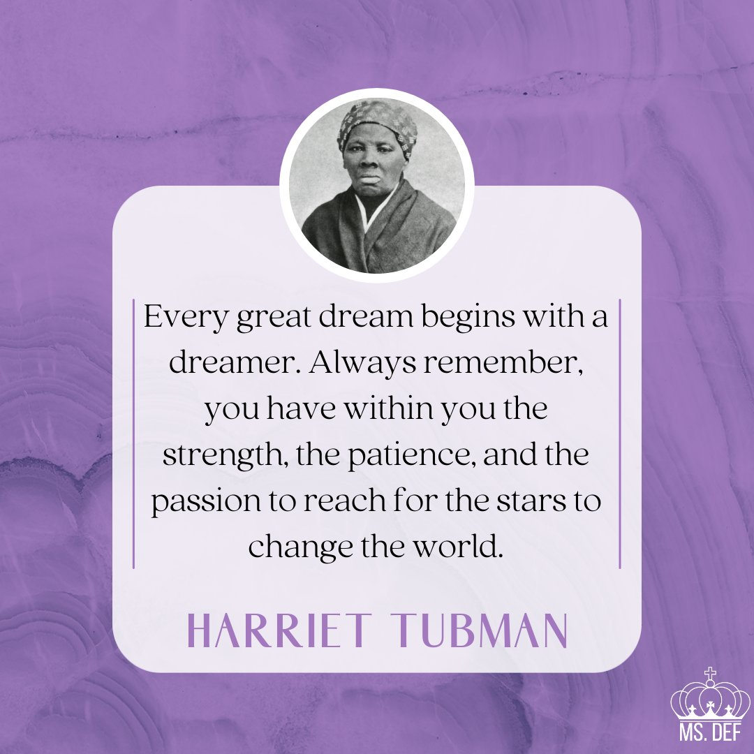Harriet Tubman said it best.  You have the ability to change the world.  What is a dream you're chasing?  Share below.  #IAMABLACKWOMAN #BHM #BHM21 https://t.co/2mk11GUBLk