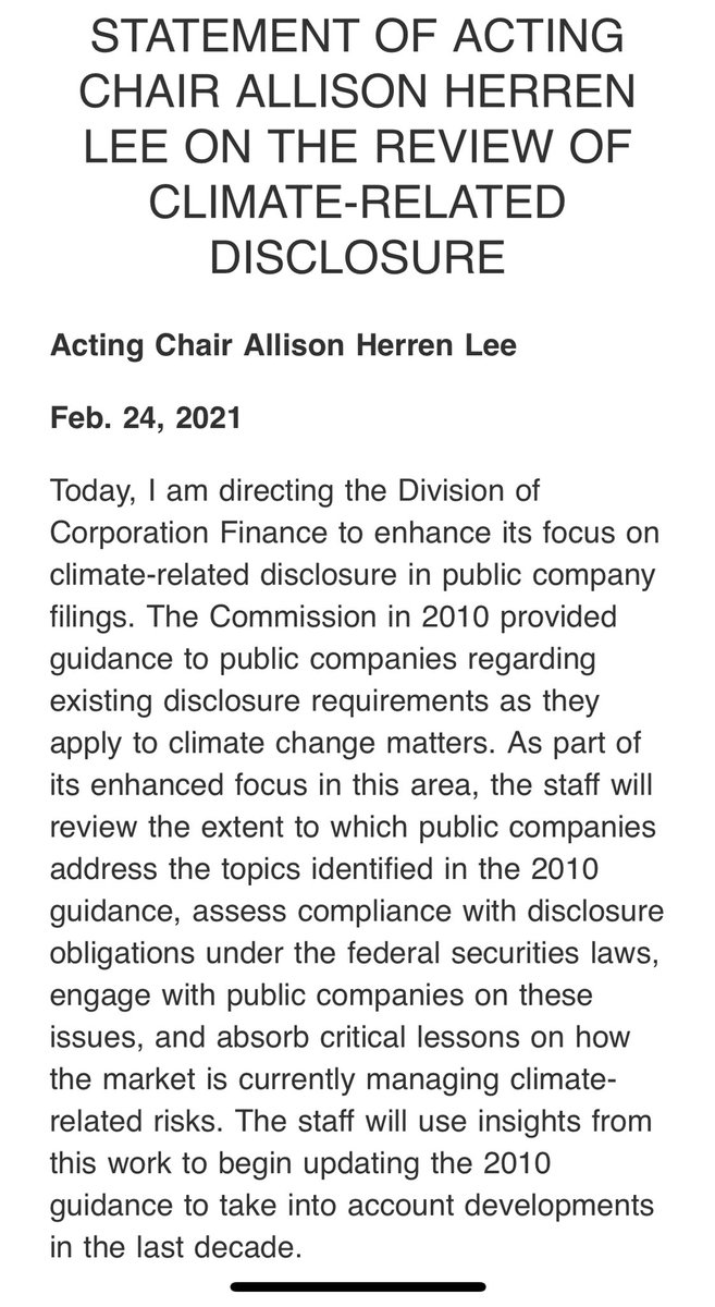 The acting director of the SEC, Allison Herren, announced today the agency will take a more aggressive approach in pushing public companies to disclose their climate risks.