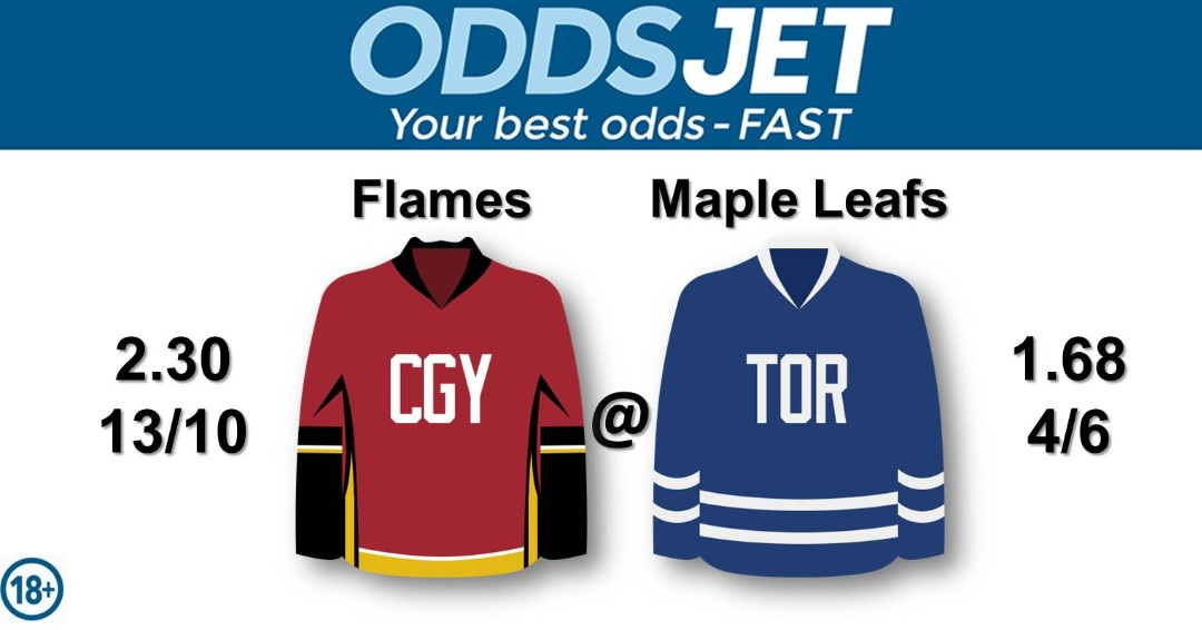 #NHL, #HockeyIsBack,   #Flames, #CofRed, #CalgaryFlames, #GoFlamesGo, vs. #LeafsForever, #LeafsNation, #Leafs, #MapleLeafs, #TMLtalk, #GoLeafsGo, Get your best odds - fast at