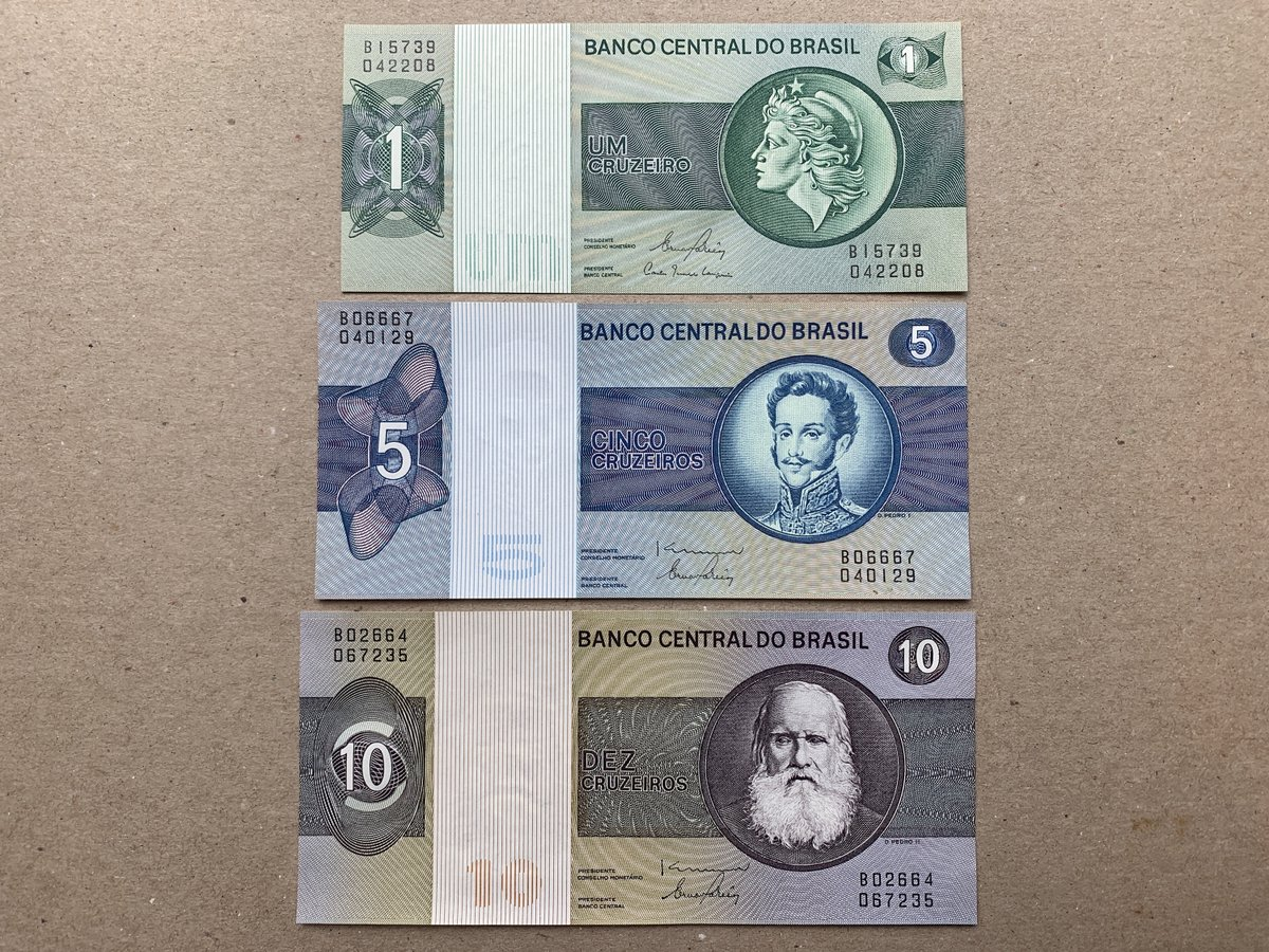 my #etsy shop: 3 Pcs Brazilian Cruzeiros. 1980's Liberty Billette, Banknotes, Currency. At Back, Banco Central Maroon Parade Square, Prophet Daniel Statue.  #banknote #currency #bills #pesos #collectibles #vintage #antiques #brazil #brasil