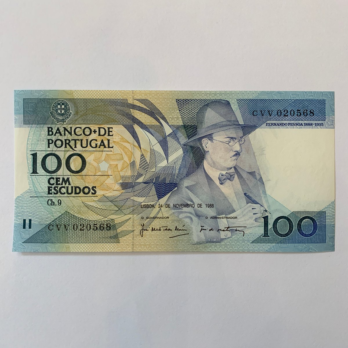 my #etsy shop: Portugal Cem Escudos. Pre Euro Portuguese Currency. European Notes, Europe Bills. Fernando Pessoa. Please see the back of the banknote.  #banknote #billetes #currency #bills #dollars #collectibles #vintage #portugal #portuguese