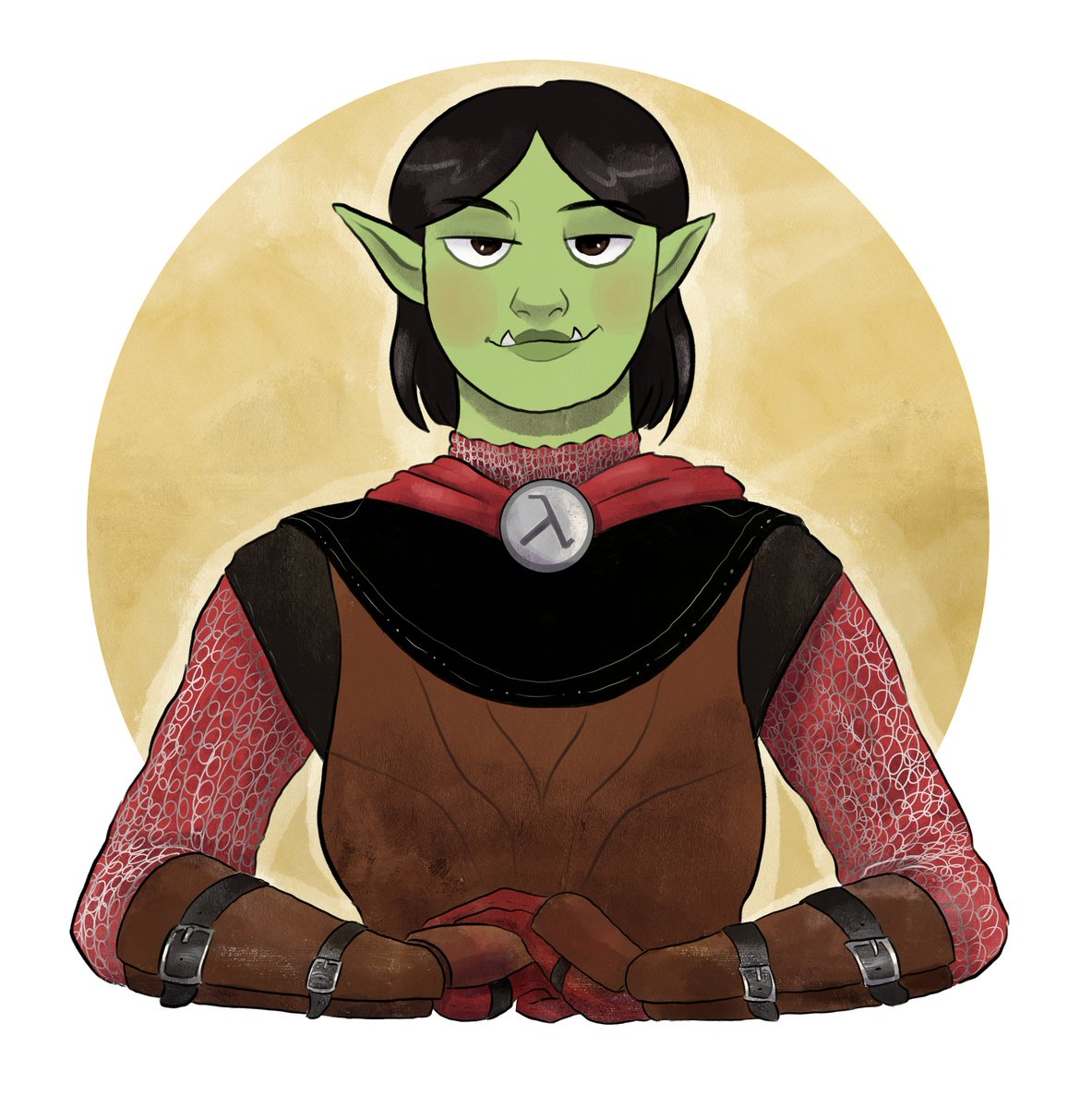 I 100% forgot to share this here lol but here's a #DnDcharacter commission I did for @stephgerk's half-orc cleric, Amox! #DnD #DnDartists