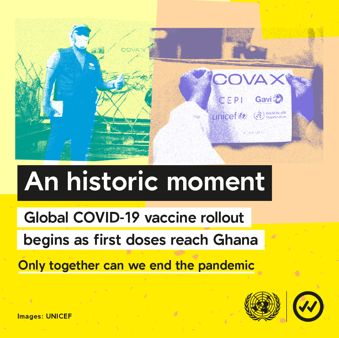 An historic moment in the fight against #COVID19: the global vaccine rollout through the UN-led COVAX initiative has begun in Ghana.  #OnlyTogether can we end the pandemic.