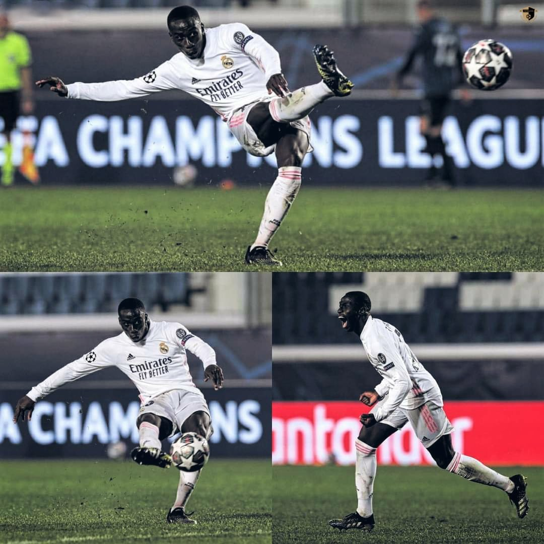 Ferland Mendy scored his first Champions League goal🔥🙏  What a time to score your beautiful goal 🔥😍   #ferlandmendy #mendy #Realmadrid #atalana #uefachampionsleague #UEFA #UCL #championsleague