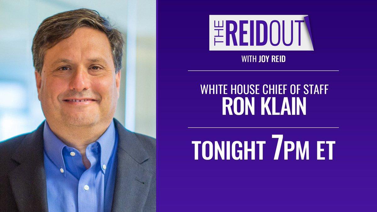 Tonight on #TheReidOut:   @JoyAnnReid talks to @WHCOS Ron Klain about the latest on covid relief, the $15 minimum wage, and vaccine distribution.