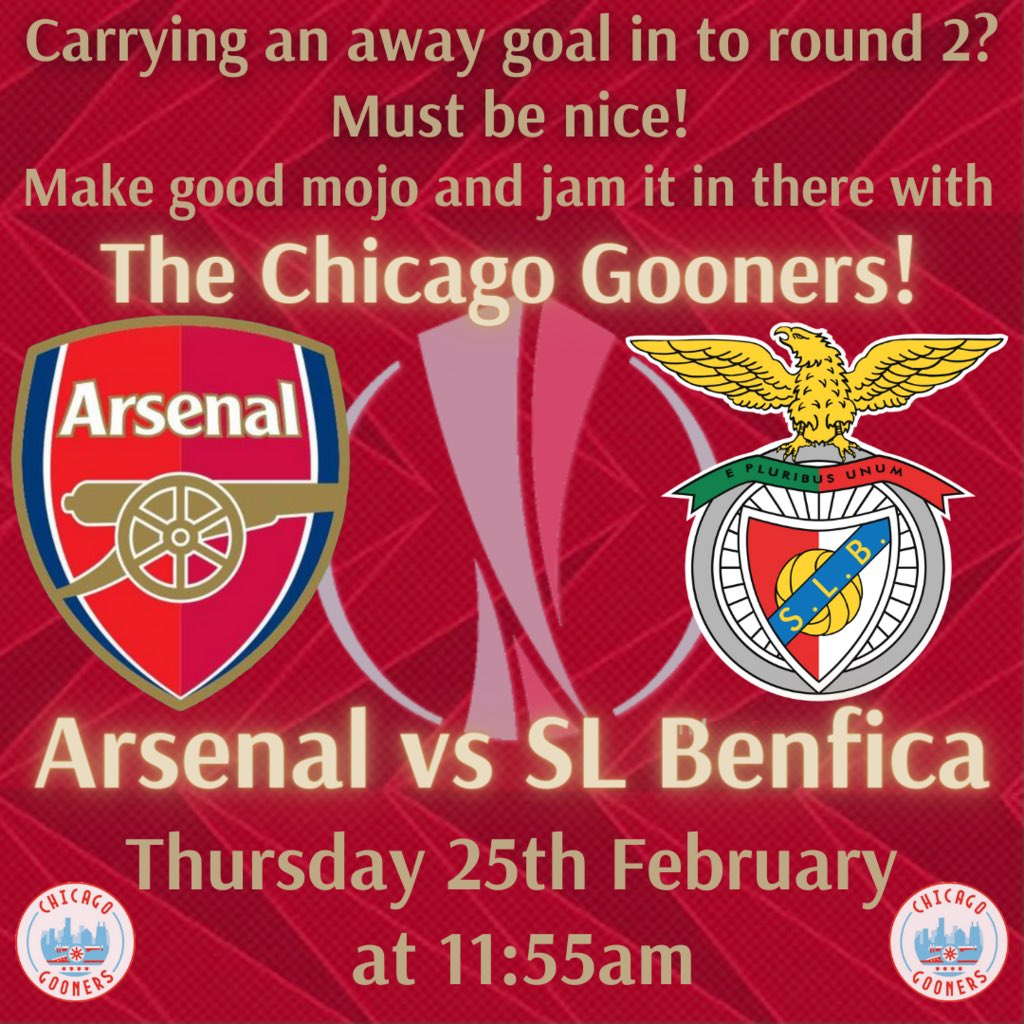 After a draw in the first leg with Benfica, Mikel's boys are back in Europe with it all to do, tomorrow. A midday kickoff is the perfect time to check with @theglobepub for table reservations as we look to go through to the round of 16! #UEL #COYG #UTA