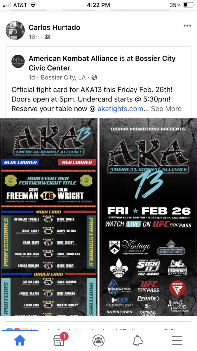 Fighting this Friday can't wait! Ready to get back in there! #MMA #AmericanKombatAlliance #AKA #MixedMartialArts #BossierCity #UFC #UFCFightPass