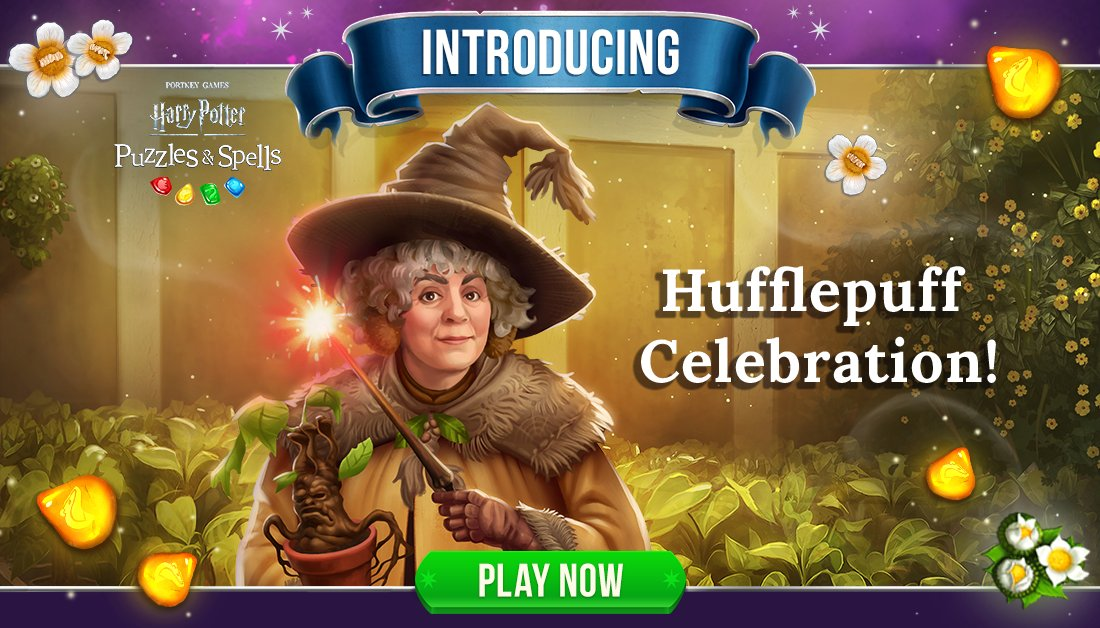 True, just, loyal and unafraid of toil. Participate in #HufflepuffCelebration by collecting Yellow Gems inside Player Journey puzzles!  Play Hufflepuff Celebration NOW ➡️   #HarryPotterPuzzlesAndSpells #Match3 #Hufflepuff #Sprout