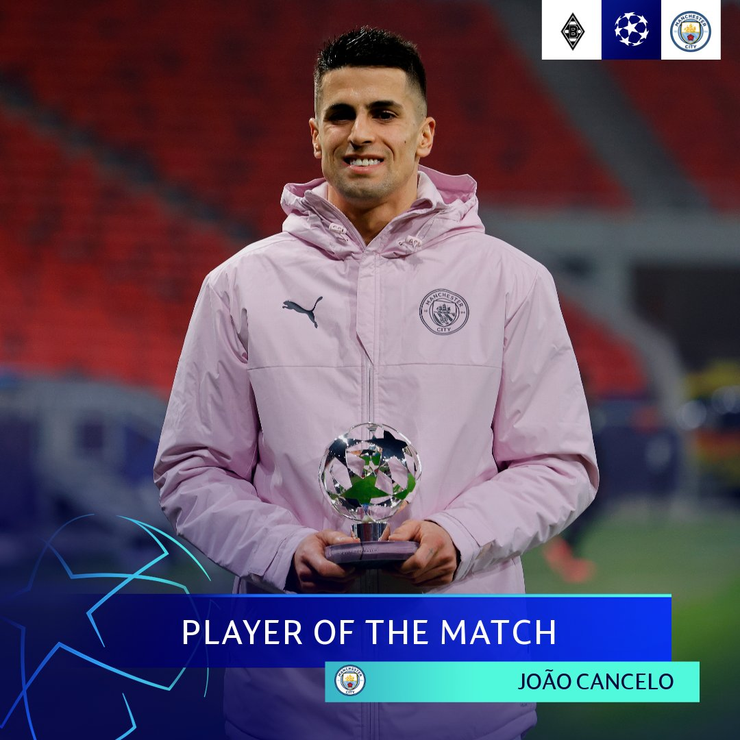 🔵 Involved in both first-leg goals, João Cancelo takes the prize after another impressive Manchester City display 🥇  👉 You can vote for the full-back to win the Player of the Week crown ahead of the other three candidates when the poll opens...  #UCLPOTM | #UCL