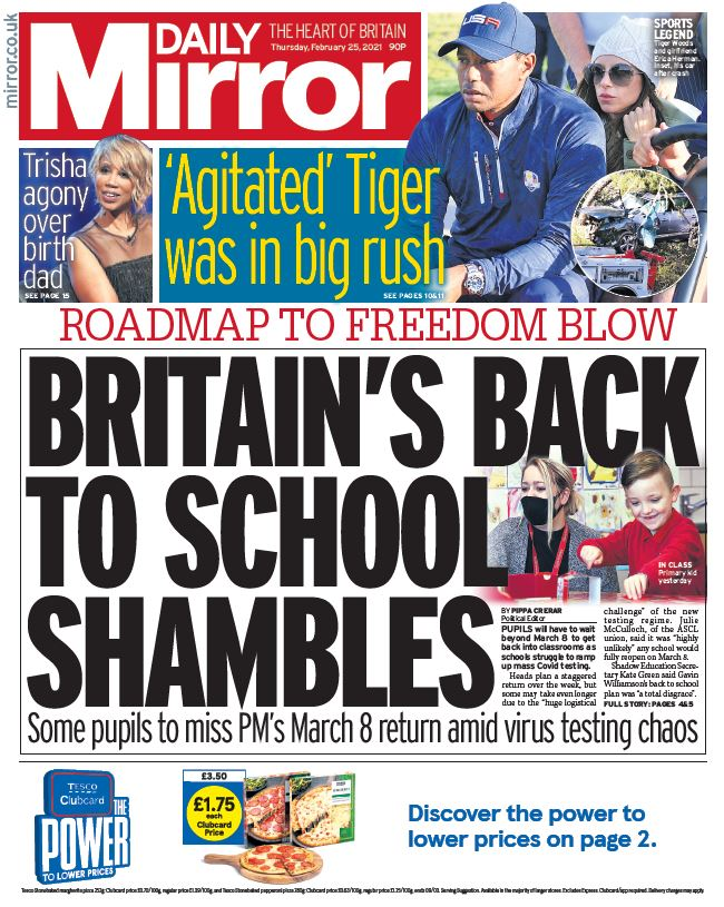 "Thursday's Mirror: ""Britain's back to school shambles""  #BBCPapers #TomorrowsPapersToday"