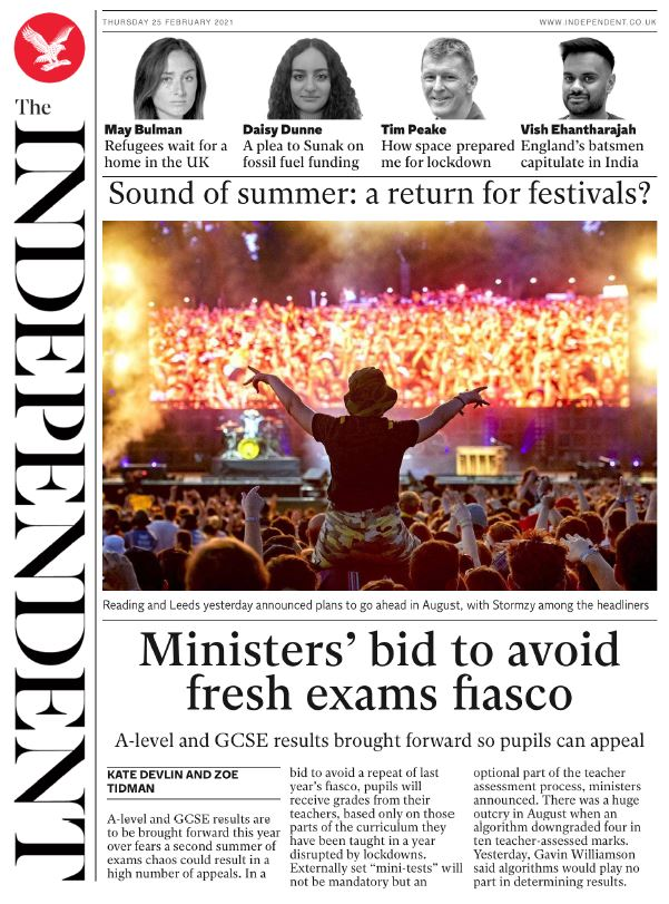 "Thursday's Independent digital: ""Ministers' bid to avoid fresh exams fiasco""  #BBCPapers #TomorrowsPapersToday"