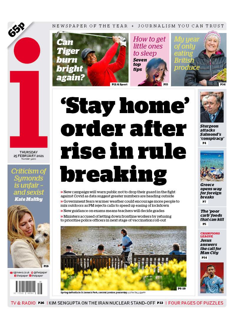 "Thursday's i: ""'Stay home' order after rise in rule breaking""  #BBCPapers #TomorrowsPapersToday"