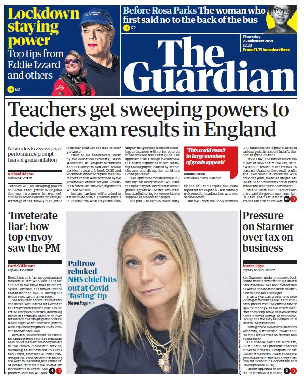 "Thursday's Guardian: ""Teachers get sweeping powers to decide exam results in England""  #BBCPapers #TomorrowsPapersToday"