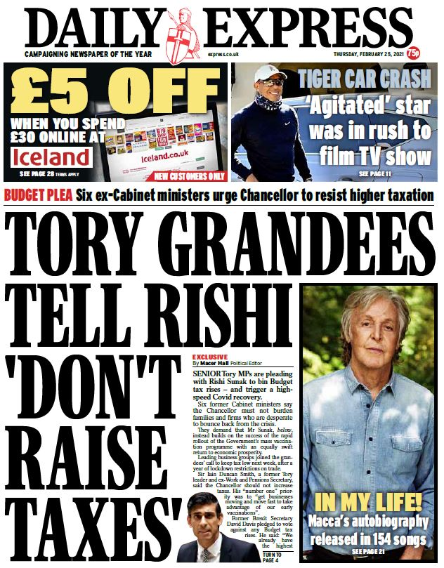 "Thursday's Express: ""Tory grandees tell Rishi 'don't raise taxes'""  #BBCPapers #TomorrowsPapersToday"