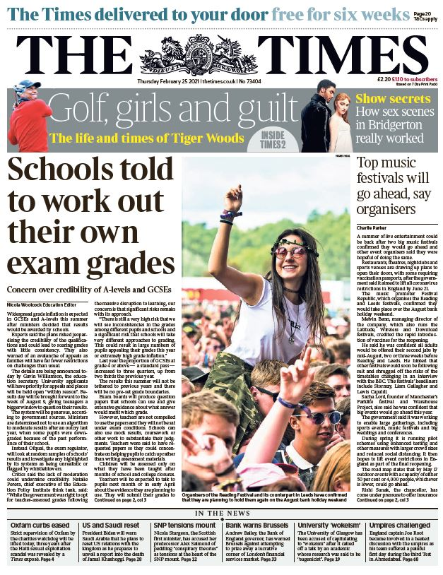 "Thursday's Times: ""Schools told to work out their own exam grades""  #BBCPapers #TomorrowsPapersToday"