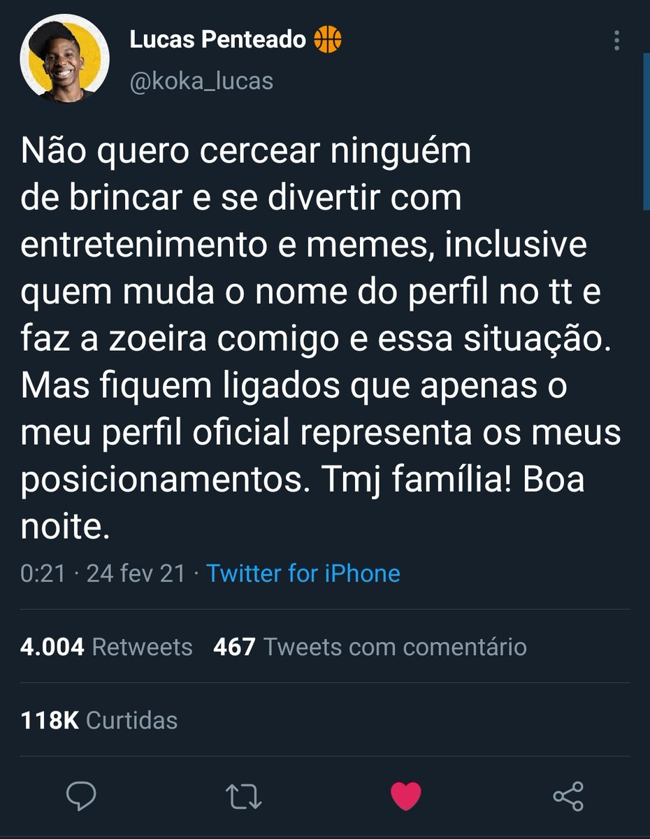 Lucas Penteado responde quem usou sua foto e nome para esclarecer seguidores. (Foto: Reprodução / Twitter)
