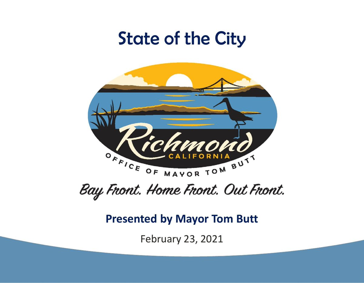 Thank you to everyone who tuned in to watch the 2021 #StateOfTheCity! The PowerPoint and video presentations are available below.  City Website: https://t.co/Zs5fK5NGIw  @KCRTTelevision YouTube: https://t.co/hdUZMxrenI  #SOTC #Richmond #California #BayFront #HomeFront #OutFront https://t.co/acVym7rSmc