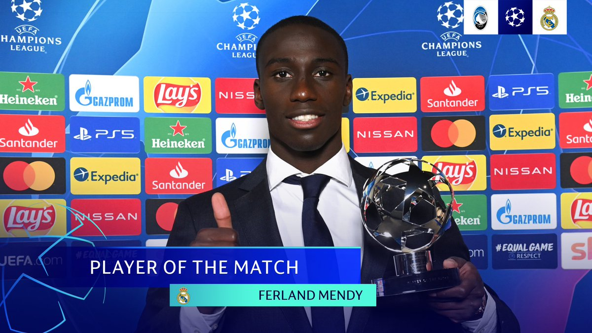⚪️ Real Madrid hero Ferland Mendy secures the award after an attacking display was rewarded with the decisive goal 🥇  👉 The left-back is one of four candidates you can vote for to win the Player of the Week title...    #UCLPOTM | #UCL