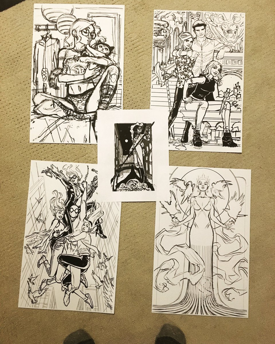 Sketches for next 5 commissions, printed & ready for the lightbox. Big thnx to those waiting for your patience! Will open a new commission list after these, hopefully in early March. If interested, Follow @CadenceComicArt & get on their email list to ensure you're notified!