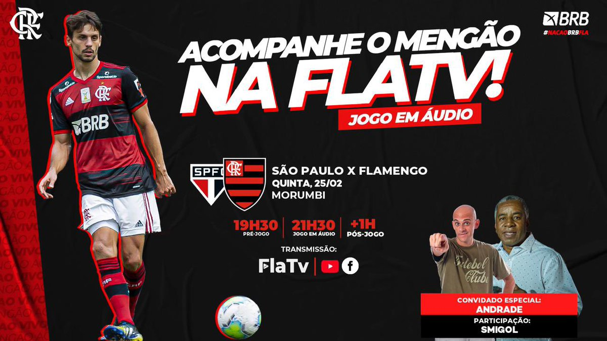 É AMANHÃ, NAÇÃO! É DECISÃO!  O Mengão enfrenta o São Paulo, no Morumbi, às 21h30, pelo Brasileirão, e a #FLATV transmite em áudio! Vamos com tudo em busca do título! 💪❤️🖤 https://t.co/dkkZaZxL0w