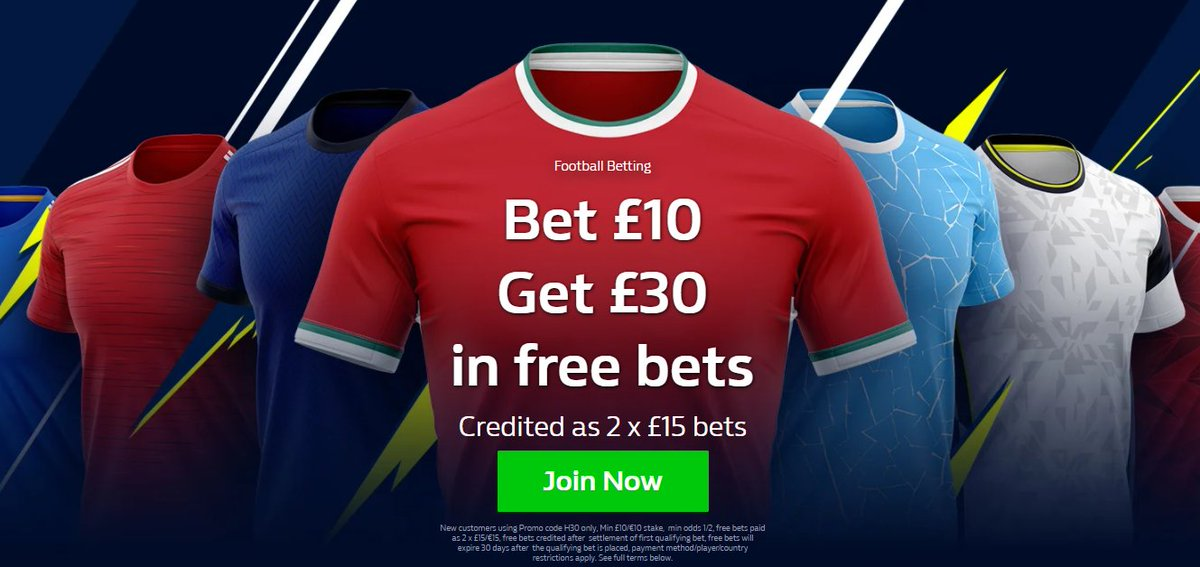 WilliamHill New Customers Bet €£10 Get €£30  1. Use Promo Code H30 2. place a £€10 bet on any market 3. Once qualifying bet has settled 4. Free bets paid as 2 x £€15   18+T&Cs Gamble Responsibly #Championship #Football #ChampionsLeague #EFL #PL,-