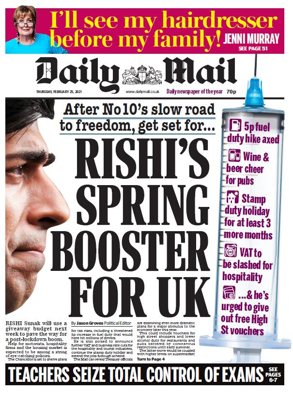 "Thursday's Mail: ""Rishi's spring booster for UK""  #BBCPapers #TomorrowsPapersToday"