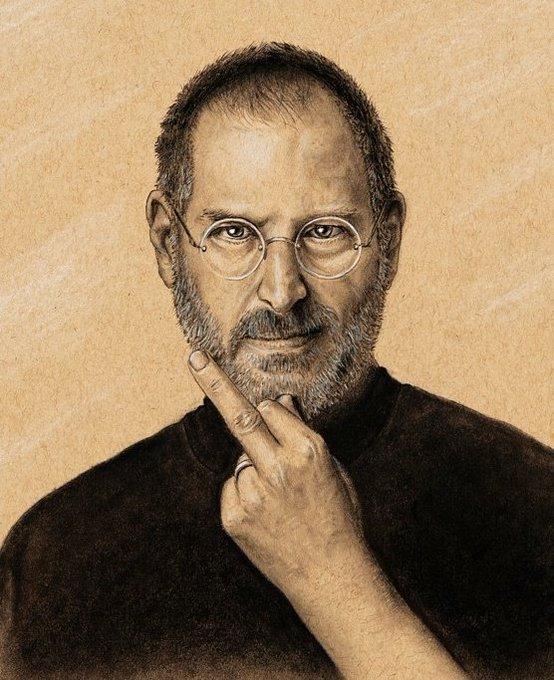 Happy birthday Steve Jobs. Portrait drawing I did.
