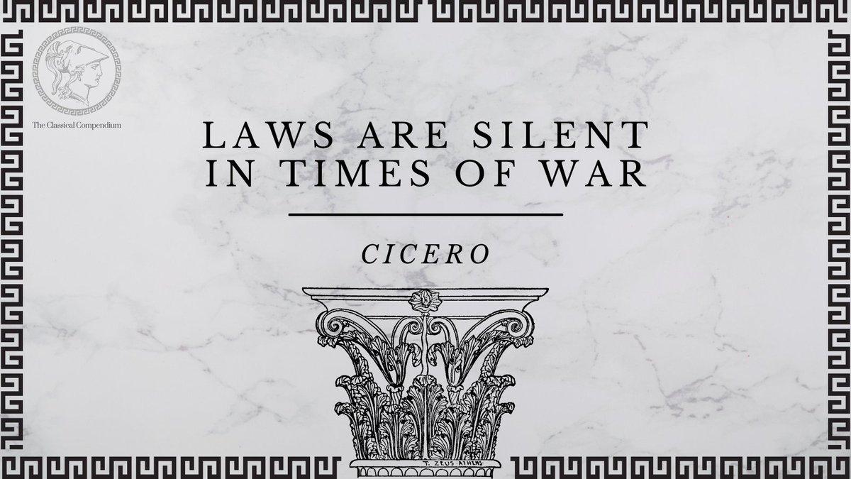 #QuoteoftheDay: 'silent enim leges inter arma' - Cicero, Pro Milone, 4.11.  #Cicero #ProMilone #AncientRome #Romans #Latin #Classics #ClassicsTwitter