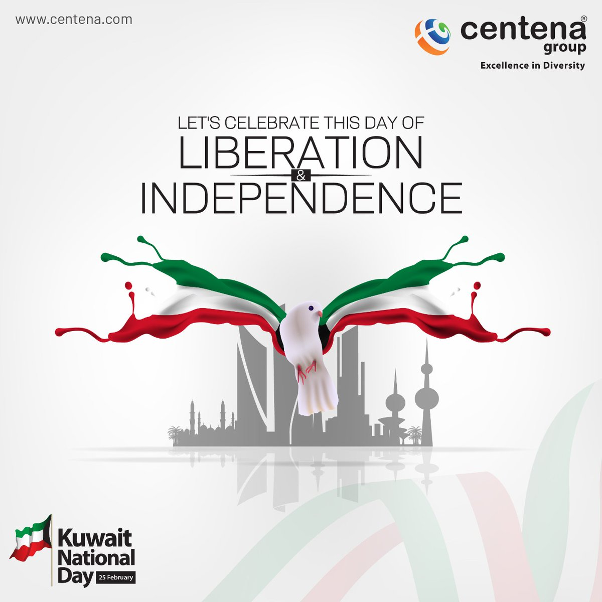 Centena Group wishes you a Happy Kuwait National Day! Let us celebrate this day of Liberation and Independence!   #pride #liberation #independence #specialday #kuwait #celebration #nationalday2021 #leadership #wishes #hope  #peace #joy #centenagroup