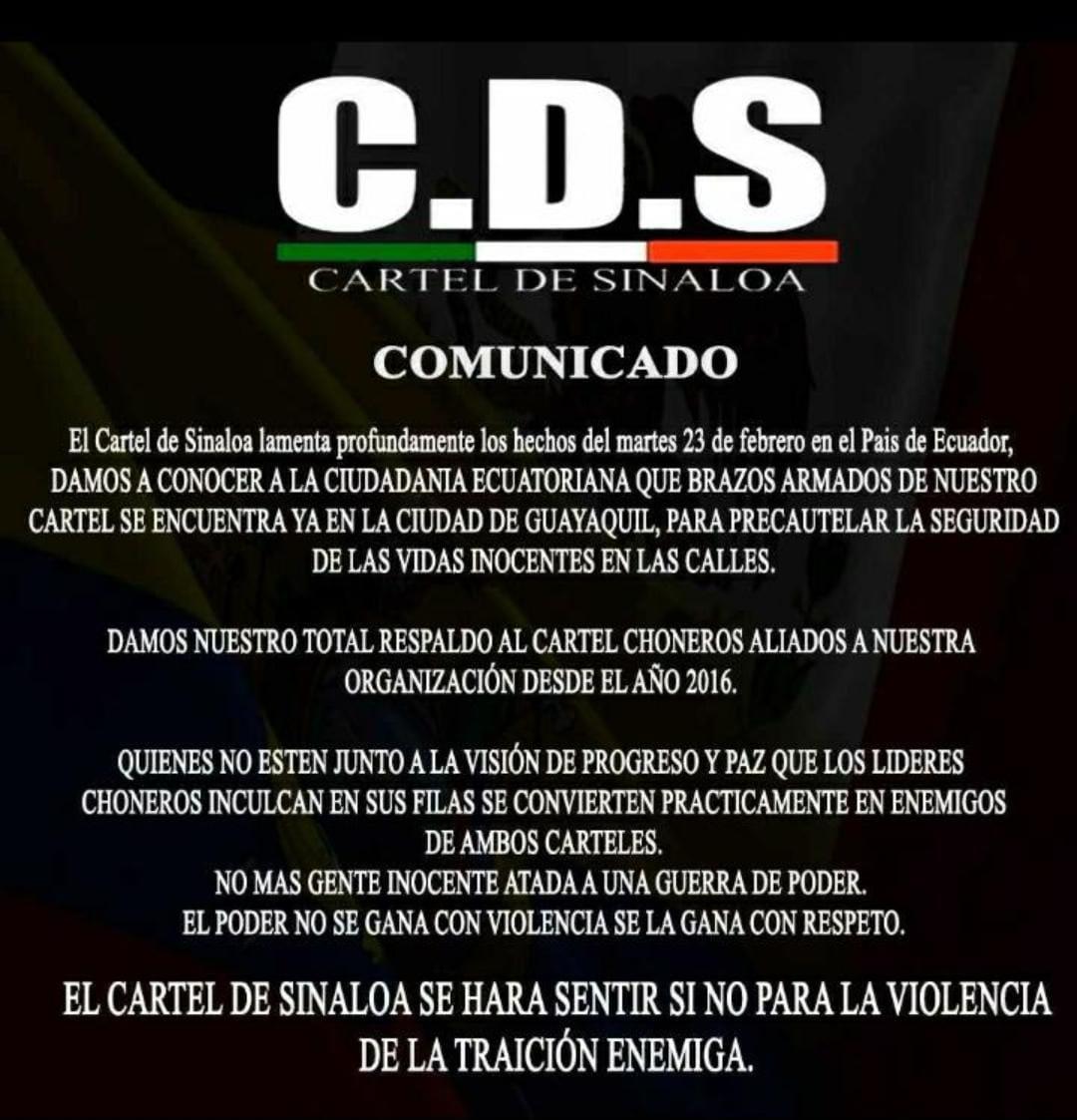 ECUADOR CARTEL DE SINALOA ENVIA MENSAJE A NUESTRA NACION #ULTIMAHORA #Amotinamientos #24deFebrero #DiaDeLaBandera #CabezaDeNarco #ConLaTuyaSiSePuede #RenunciaMoreno #NoMasONU #UCL #UFC257 #UnVioladorNoSeraGobernador