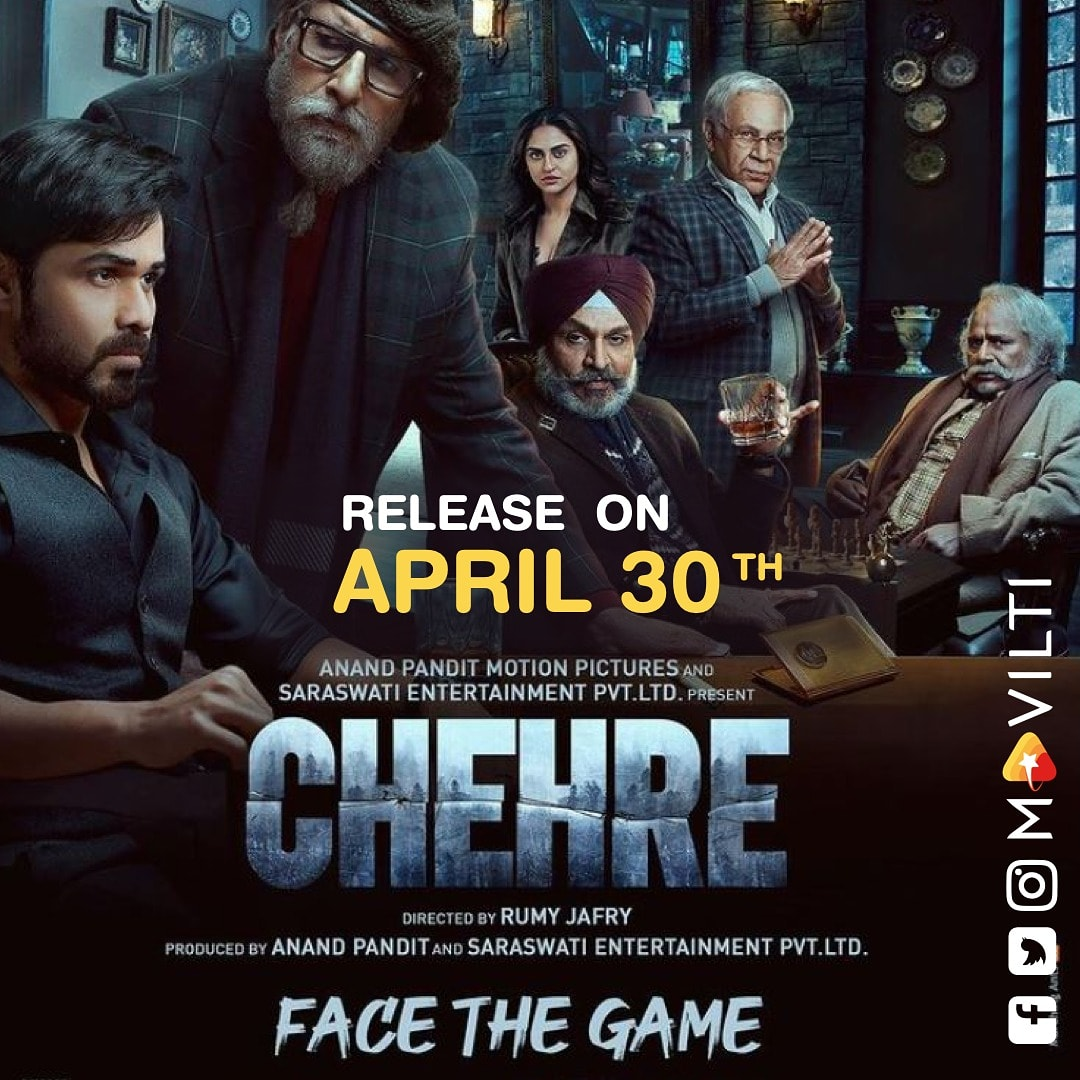 #chehre 'face the game' poster is out! will hit screen's on 30th April. @therealemraan  #facethegame  @sr_bachan #anandpandit63 #rumyjafry  @annukapoor @krystledsouza @siddhanthkapoor  #raghubiryadav #dhritimanchatterjee #saraswathifilms   #amitabhbachchanfans  @moviltimedia