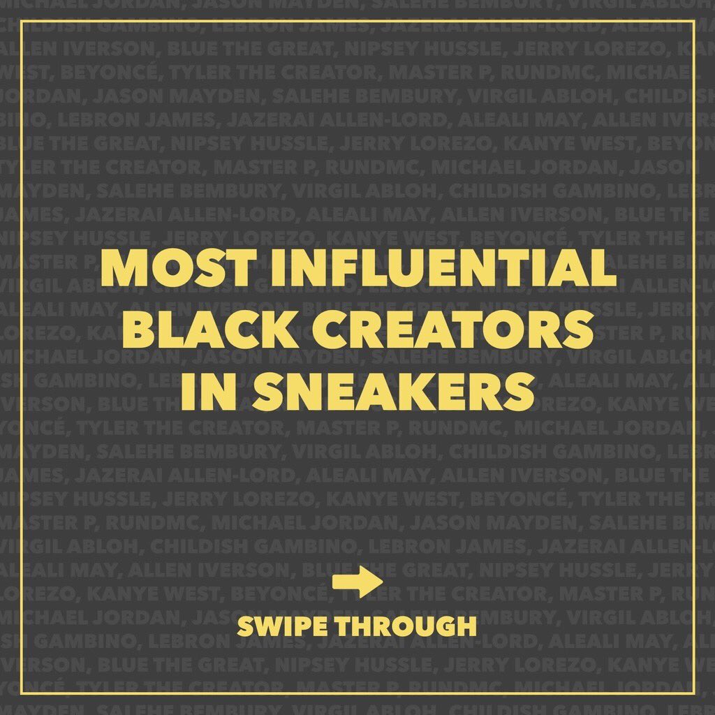 We wanted to continue to celebrate BHM by highlighting some of the most influential Black creators in sneakers. They inspire us through their work, and we thank them for changing the game of sneakers forever. Tag some of your favorite black creators & show them some love 👇