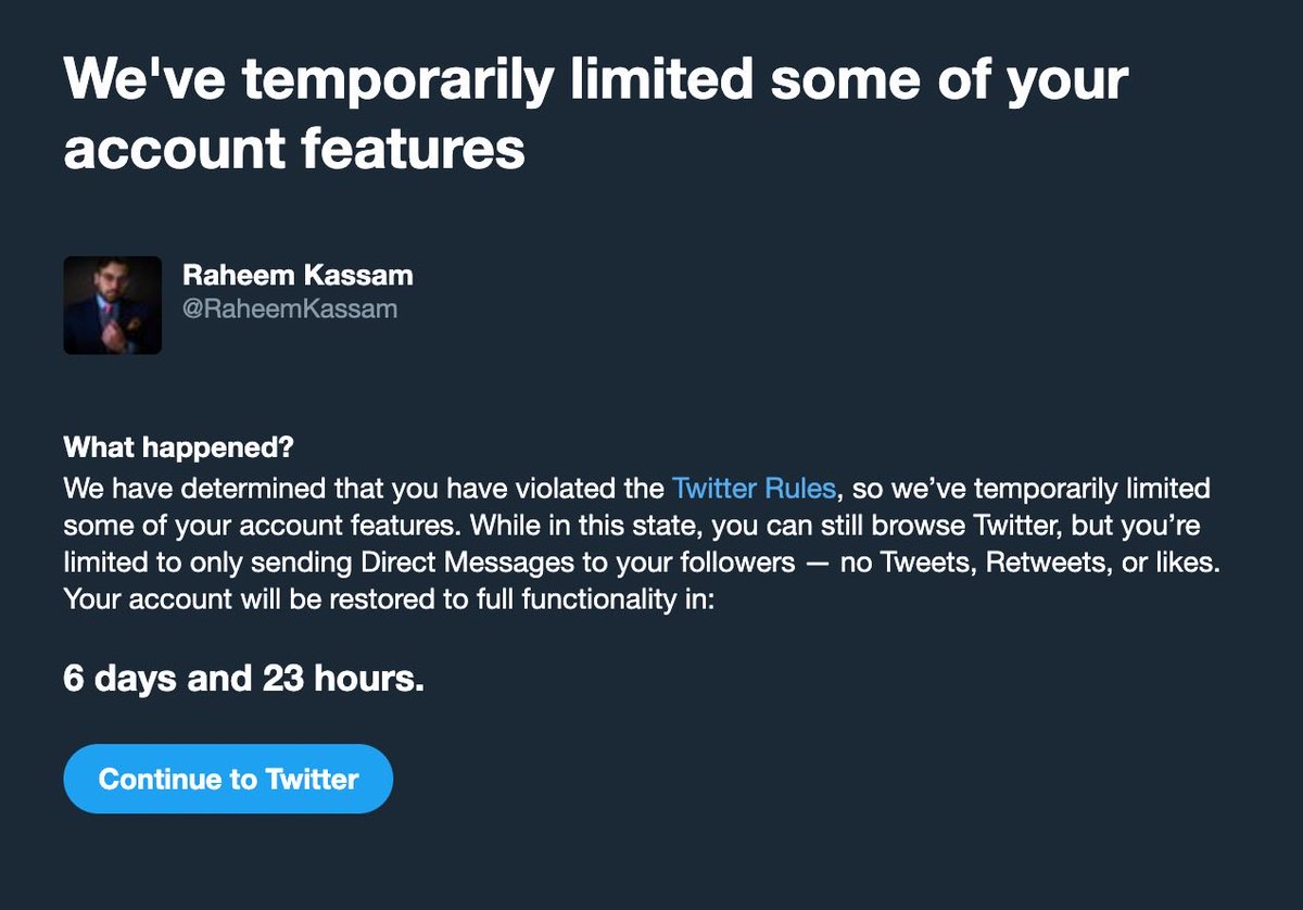 Replying to @JackPosobiec: BREAKING: @RaheemKassam has been locked by Twitter for 7 days with no explanation